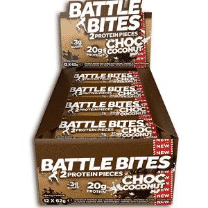 Battle Bites Protein Bars 12 x 62g - Choco Coconut